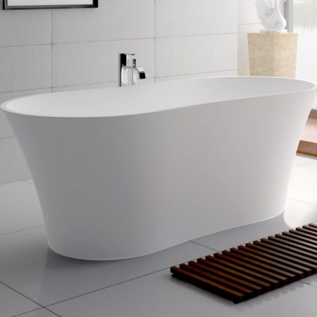 Freestanding stone baths builders discount warehouse for Bathroom heaters builders warehouse
