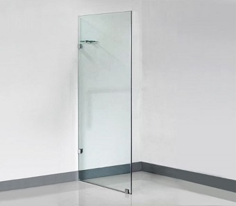 frameless glass panels with shelf