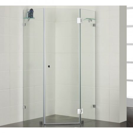 angled frameless shower