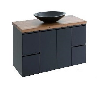 black finger pull timber vanities