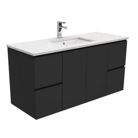 black finger pull stone vanities