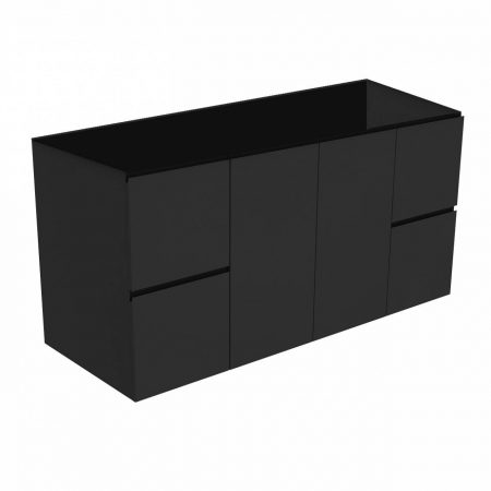 black finger pull wall-hung cabinet only